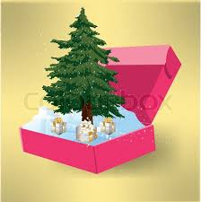 tree in a box with gifts stock vector colourbox