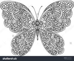 hand drawn ornamental butterfly outline illustration stock vector