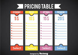 blank pricing table template vector download free vector art