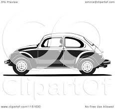 volkswagen bug clip art clipart of a grayscale volkswagen beetle royalty free vector