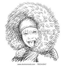 kids winter fashion sketch stock images royalty free images