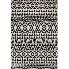 Black And White Modern Rug Black White Geometric Wool Rug