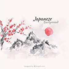 japanese wedding backdrop sunset japanese landscape background in watercolor effect vector