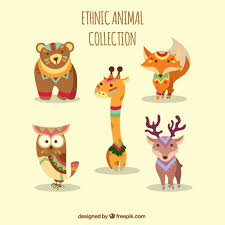 collection of ethnic animals with ornaments vector free