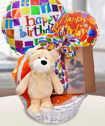 balloons and teddy delivery festive birthday basket in boston ma central square florist