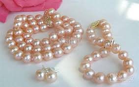 necklace pearl pink images Aa 14k 9mm natural pink pearl necklace bracelet earrings 18 8 or jpg