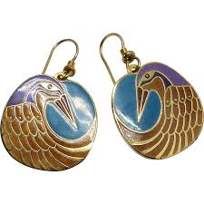 laurel burch earrings vintage laurel burch nile bird drop earrings carol barrett