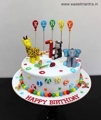colorful designer animals theme colorful designer small fondant cake for boy s 1st