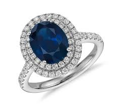 sapphire rings images Oval sapphire and diamond double halo micropav ring in 18k white