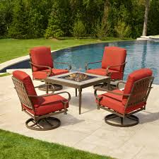 Hampton Bay Patio Chairs by Oak Cliff 5 Piece Metal Patio Fire Pit Conversation Set With Chili