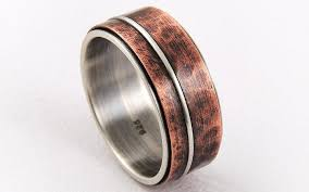 copper engagement ring mixed metal mens wedding ring silver copper anniversary ring