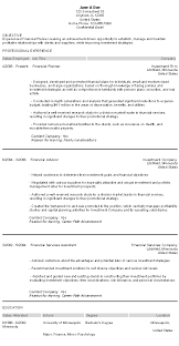 Best Finance Resume by Best Financial Planner Resume With Financial Planning Resume Cover