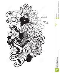 beautiful doodle art koi carp tattoo design stock vector image