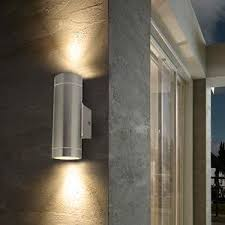 outdoor double wall light 2 x stainless steel double outdoor wall light ip65 up down outdoor
