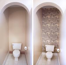 wallpaper designs for bathroom removable wallpaper in the bathroom how about orange