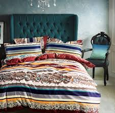 amazon com bohemian duvet cover striped ethnic boho reversible