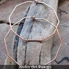 ear hoops large geometric hoop earrings 2 inch copper ear wire