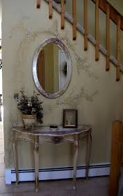 half oval console table brilliant half wall ideas for entryway with metal frame oval mirror