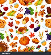 thanksgiving traditional thanksgiving pattern pumpkin roasted turkey autumn stock vector