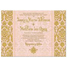 pink and gold wedding invitations blush pink gold damask photo wedding invitation