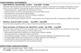 Example Of Waitress Resume by Sample Cv For Waitresses