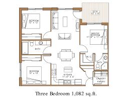 3 bedroom unit floor plan lewis village e1 e9 the villages at