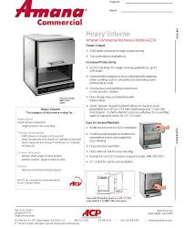 amana aoc24 heavy duty commercial microwave oven culinary depot specsheet