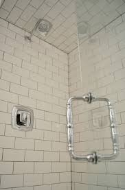 terrific traditional shower design with black subway tiles