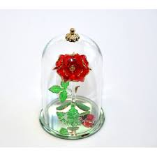 and the beast glass dome ornament arribas glass collection