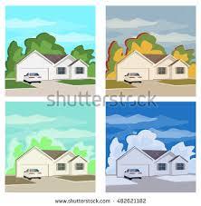 House Flat Design House Flat Design Urban Landscape Vector Stock Vector 547070896
