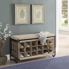 neu home brown beige shoe storage bench 10779wp the home depot