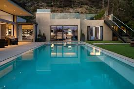 luxury swimming pool for german house plan with modern stair nytexas
