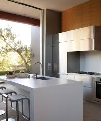 inspirations in moder style kitchen with new cabinet and island white island also stools also silver cabinet with panel appliances also gas stove and microwave also