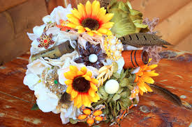 theme wedding bouquets duck dynasty inspired camo sunflower brooch bridal bouquet