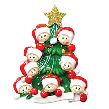 personalized tree family of eight ornaments grandkids