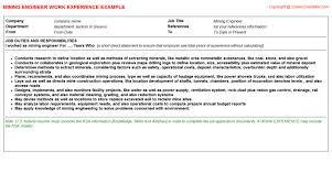 Resume Mining Mining Engineer Cv Work Experience Samples