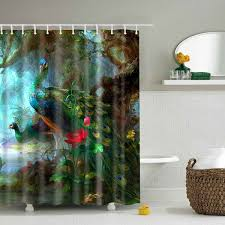Polyester Shower Curtains 2018 Peacock Printed Design Polyester Shower Curtain Colormix L In