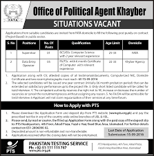 situation vacant in office of political agent khayber pts job