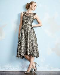 kay unger sleeveless lace tea length cocktail dress in metallic lyst