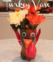 thanksgiving craft for kids turkey vase centerpiece fall