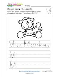 alphabet tracing uppercase m mia monkey a wellspring
