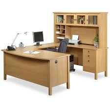 Wood Computer Desk With Hutch by Furniture Cherry Finished Wooden Work Station Decor With Lighted