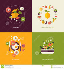 flat design concept icons for food and restaurant stock vector