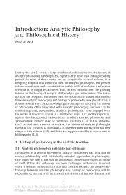 introduction analytic philosophy and philosophical history springer