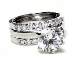 wedding trio sets classic 2 25 ct rd brilliant cut cz engagement trio ring set