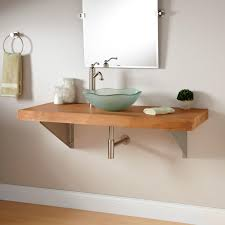 Wall Mount Bath Sink Bathroom Vanity With Vessel Sink Mount 355677 L Bamboo Wall Mount