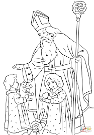 st nicholas greets children coloring page free printable