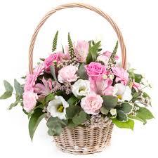 basket arrangements pink white basket arrangement midsomer norton florist