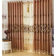 Brown Floral Curtains Blue Floral Embroidery Linen Elegant Living Room Curtains