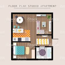 detailed apartment furniture overhead top view stock vector art